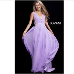 Jovani 51515 Plunge Chiffon Princess Gown